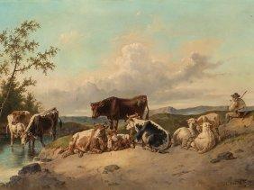 August Gerasch (1822-1908), On Pasture, 2nd H. 19th C.