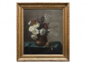 Oil Painting, Flower Still Life In Autumnal Colors, Ca.