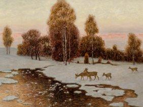Alfred Weczerzick (1864-1952), Deer In Winter