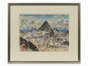 Friedrich Ludwig, Mountain Panorama, Chalk, Presumably