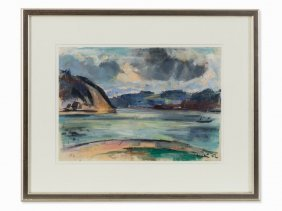 Friedrich Ludwig, River With Rowboat, Chalk Drawing,