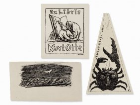 Alfred Kubin, Ex Libris For Kurt Otte, Etching, 20th C.