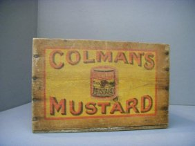 A Colman's Mustard Wooden Box With Original Painted