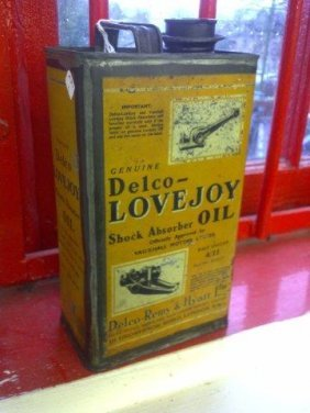 A Delco-Lovejoy Oil Gallon Can.