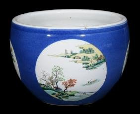 A Chinese Blue Ground Famille Verte Jardiniere , 19th