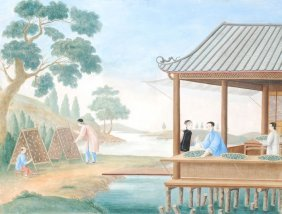 A China Trade Painting On Paper In Colours Depicti