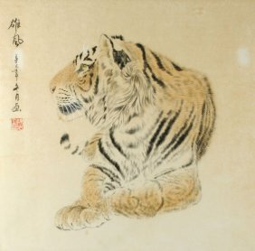 A Chinese Painting Of A Tiger, Titled Xiong Feng (