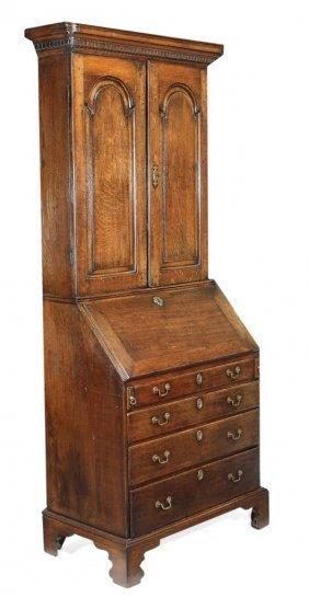 A George II Oak Bureau Bookcase, Circa 1740, Mould
