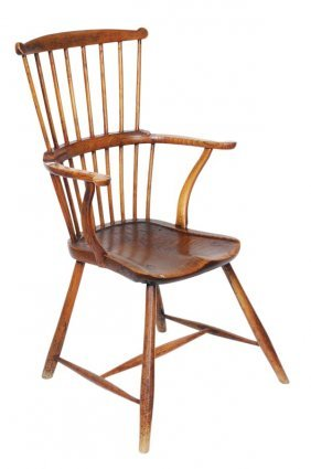 An Ash And Elm Comb Back Windsor Armchair, Late 18