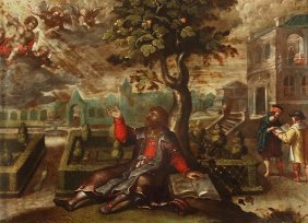 Flemish School (17th Century) A Vision Of Two Ange