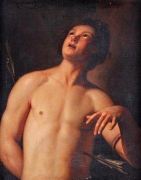 Follower Of Guido Reni St. Sebastian Oil On Canvas