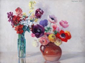 Gerard Chowne (1875-1917) Vase And Jug With Flower