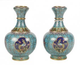 A Pair Of Chinese Cloisonne Vases Of Bulbuous Shap