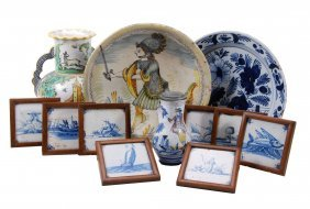 A Selection Of Tin-glazed Earthenware, To Include An