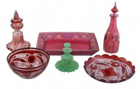 A Selection Of Bohemian/turkish Coloured Glass, Second