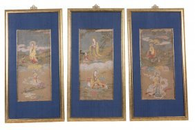 A Set Of Three Chinese Silk Paintings, Late 19th Or