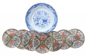 A Large Chinese Blue And White Charger , Qianlong