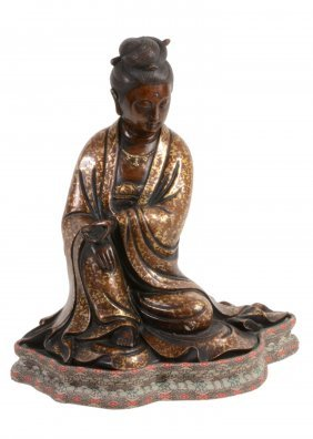 A Chinese Bronze Gold-splash Model Of Guanyin, Seated