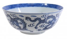 A Chinese Blue And White Dragon Bowl, Late 19th Century