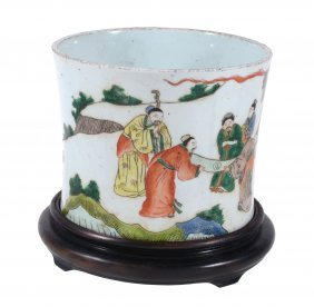 A Chinese Famille Verte Brush Pot, 20th Century, Bitong