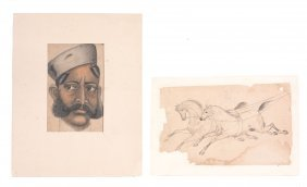 A Drawing Of Two Horses, India, Late 19th Century