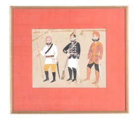 Three Soldiers, Probably Jaipur, Rajasthan, Late 19th