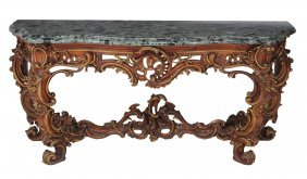 A Bronzed And Parcel-gilt Carved Wood Console Table In
