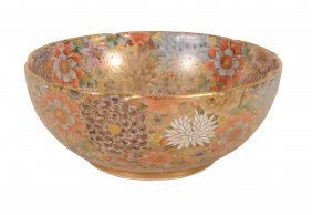 A Japanese Satsuma Bowl, Densely Painted With Flowers