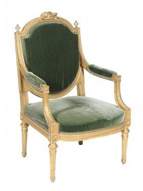 A Giltwood Fauteuil In Louis Xvi Style, Late 19th