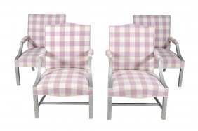 Two Pairs Of Silvered Wood Library Armchairs In George