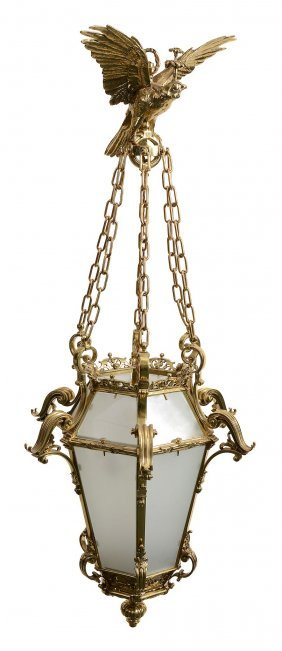 A Gilt Brass And Glazed Hall Lantern In 18th Century