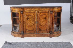 A Victorian Burr Walnut, Marquetry And Gilt Metal