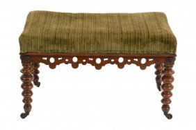 A Victorian Walnut And Upholstered Stool, Circa 1850