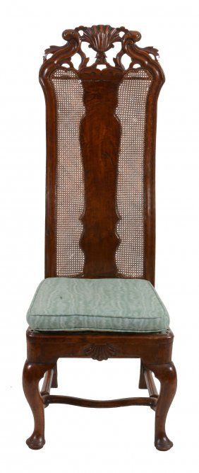 A Walnut Hall Chair , Early 18th Century And Later,
