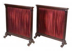 A Pair Of Irish Mahogany Fire-screens , Mid19th
