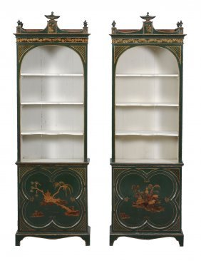 A Pair Of Green Painted And Parcel Gilt Bookcases ,