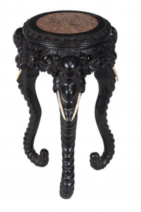 A Chinese Carved Hardwood , Bone And Marble Mounted