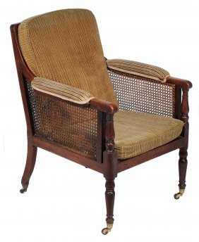 A Late George Iii Mahogany Framed, Caned And