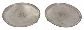 A Pair Of George Iii Silver Circular Small Salvers By