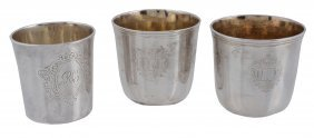 Three French Silver Beakers, Comprising: A Pair
