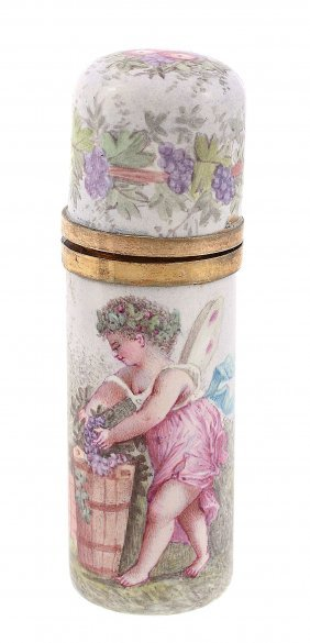 A Continental Enamel Cylindrical Scent Flask, Circa