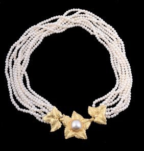 A Freshwater Cultured Pearl Necklace, The Multi Strand