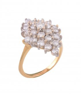 An 18 Carat Gold Diamond Ring, The Marquise Shaped