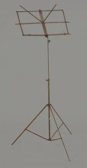 A Brass Folding Music Stand , 120cm High,