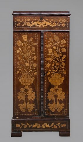 A Dutch Floral Marquetry Music Cabinet, 19th Century