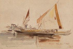 Edward Lear (1812-1888) - A Venetian Sail Barge