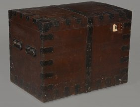 An Oak And Metal Bound Silver Chest By Elkington & Co,