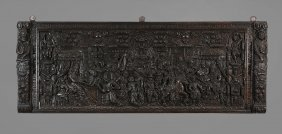 A Flemish Oak Chest Front Panel , Probably 16th Century
