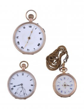 A 9 Carat Gold Keyless Wind Open Face Pocket Watch, No