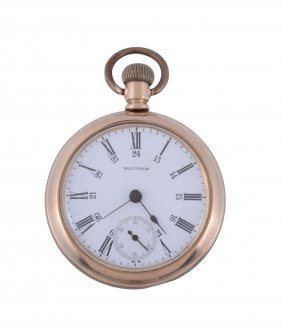 Waltham, A Gold Plated Keyless Wind Open Face Pocket
